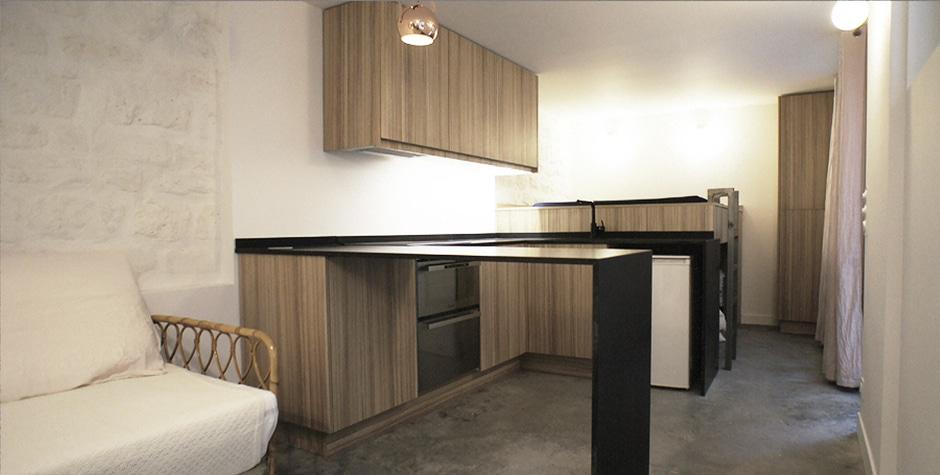 Montmartre rénovation studio particulier rue des trois frères Paris 18ème 75018 loft75 architecture d'intérieur et design