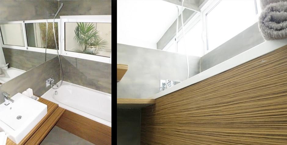 Rénovation salle de bain béton ciré Passage Gustave Lepeu Paris 11ème 75011 Loft 75 Design & Architecture d'Intérieur